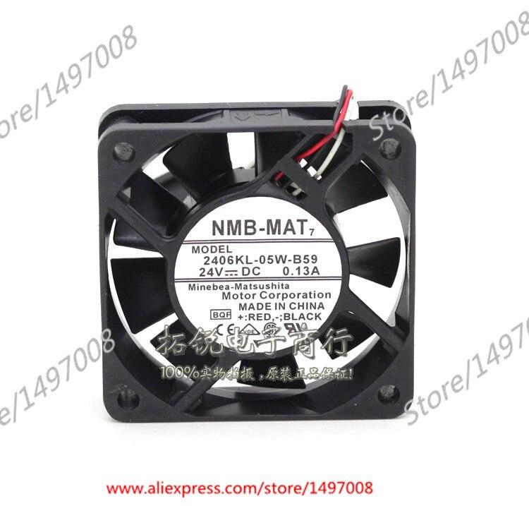 NMB-MAT 2406KL-05W-B59, BQF DC 24V 0.13A 60X60X15mm Server Square fan sw 05w