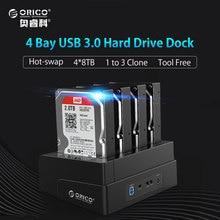 2,5 3,5 Zoll USB 3.0 zu Sata-festplatte Docking Station/Duplizierer Unterstützung MAX 24 TB mit 12V6. 5A Netzteil (ORICO 6648US3-C)