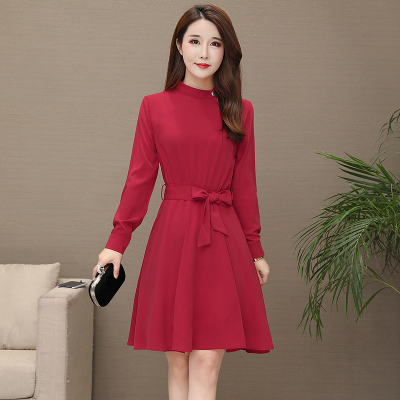 2019 fashion Spring Elegant Office dress black red a line female Dress Business OL Casual dress Wear to Work Women Dresses