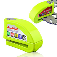 Fluorescent Green Security Protect Motorcycle Anti Thief Electric Bike Scooter Wheel Disc Brake Alarm Lock Zinc