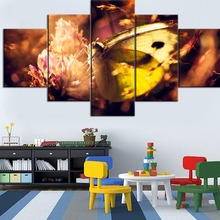 5 Pieces Modular Framework Printing Canvas Painting Nature Insect Butterfly And Flower Type Poster Home Decorative Living Room