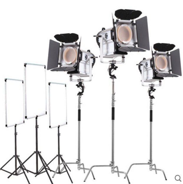 ASHANKS 3PCS 200W LED Fresnel Spotlight Wireless Remote Control 12000 Lux Bi-color Dimmable HMI Par Light Video Equipment