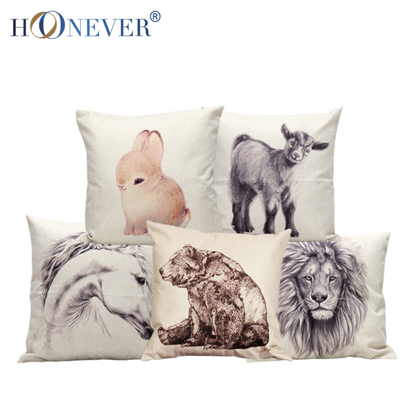 Cute Animal Decorative Cushion Covers Cute Throw Pillow Covers Colorful Pillow Case Lion Horse ...