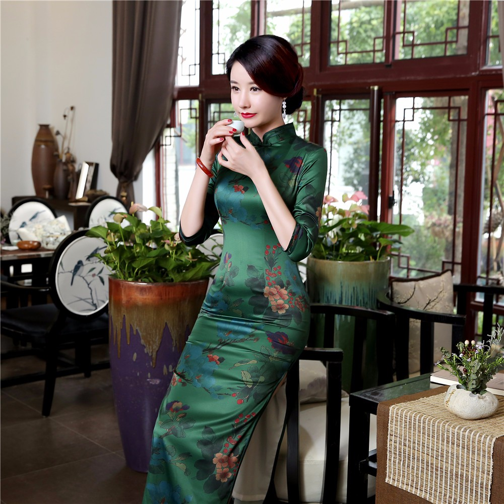 High Quality Silk Chinese Women Dress Sexy Long Sheath Cheongsam Qipao Elegant Print Flowers Dresses S M L XL XXL XXXL - 4