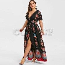 CUERLY Plus Size Printed Maxi Split Dress Bohemian Beach Party Maxi Dress Vintage Elegant High Wasit V-Neck Summer Bodycon Robe v neck printed plus size maxi prom dress