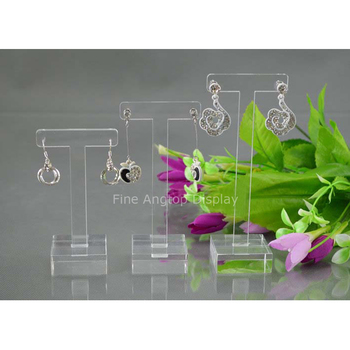 New Exquisite Acrylic Jewelry Display Earring Holder Square Base Acrylic T Bar Stand