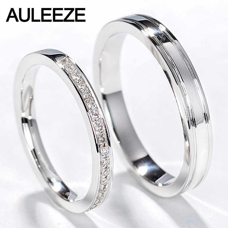 Auleeze Classic Natural Diamond Couple Rings Men Women Wedding