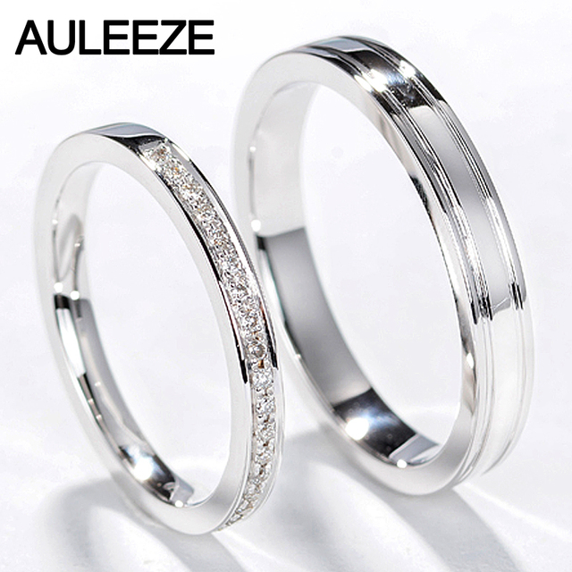 Auleeze Clic Natural Diamond Rings Men Women Wedding Ring 18k White Gold Engagement Real