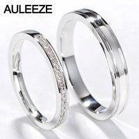 Auleeze классический натуральный алмаз пару Кольца Для мужчин Для женщин обручальное кольцо 18 К белого золота Обручение Кольцо Настоящее Ювел
