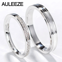 AULEEZE Classic Natural Diamond Couple Rings Men Women Wedding Ring 18k White Gold Engagement Ring Real