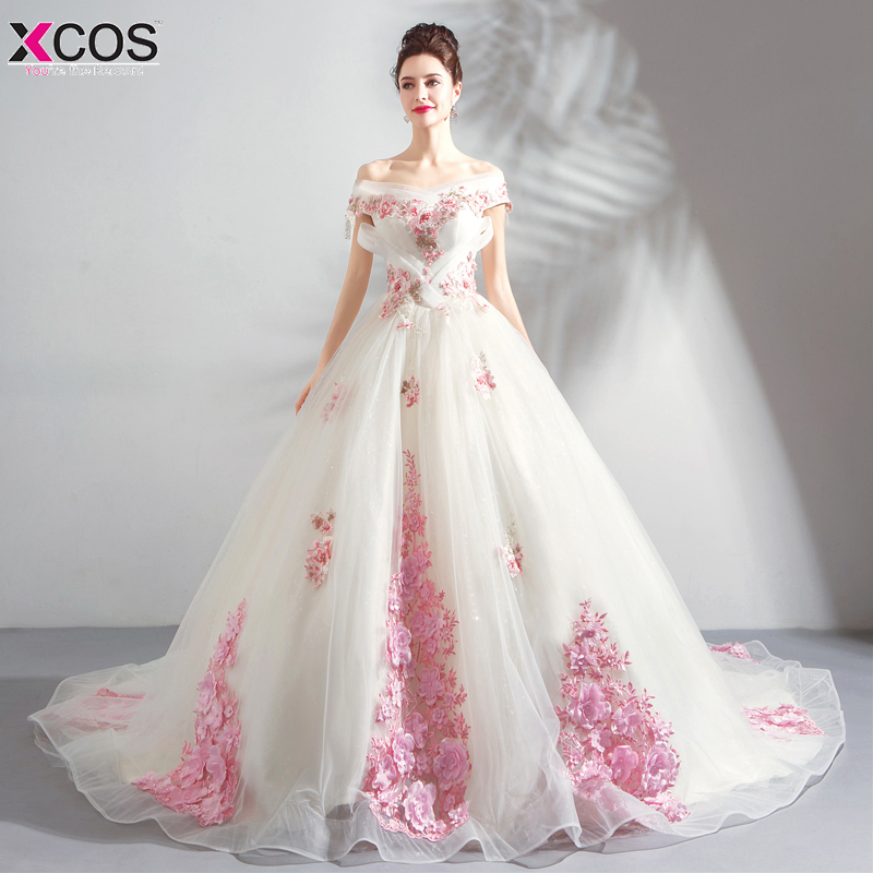 Pink Flower Ball Gown Prom Dresses Long 2018 Christmas