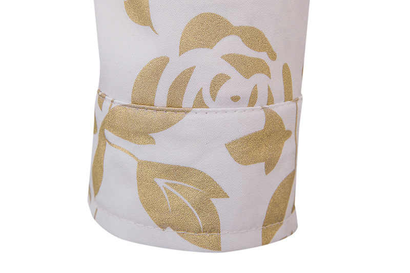 Shiny Rose ดอกไม้พิมพ์เสื้อสไตล์ผู้ชาย Slim Fit เสื้อแขนยาวลงเสื้อชาย Club Party Bronzing Camisa สังคม 2XL