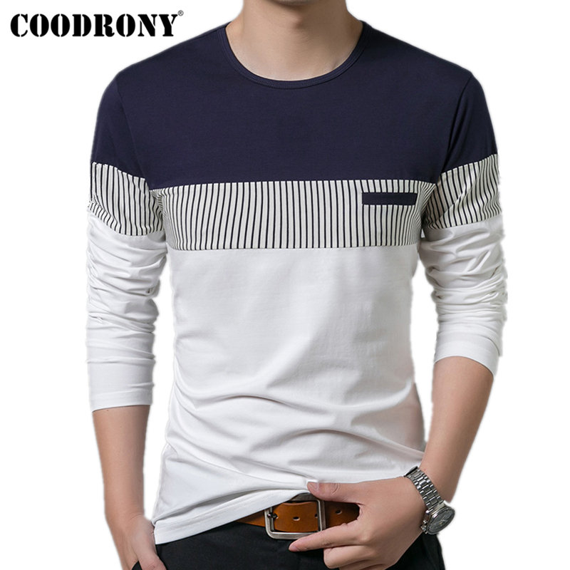 COODRONY T-Shirt Lelaki 2018 Spring Autumn New Long Sleeve O-Neck T Shirt Lelaki Brand Clothing Fashion Patchwork Cotton Tee Tops 7622