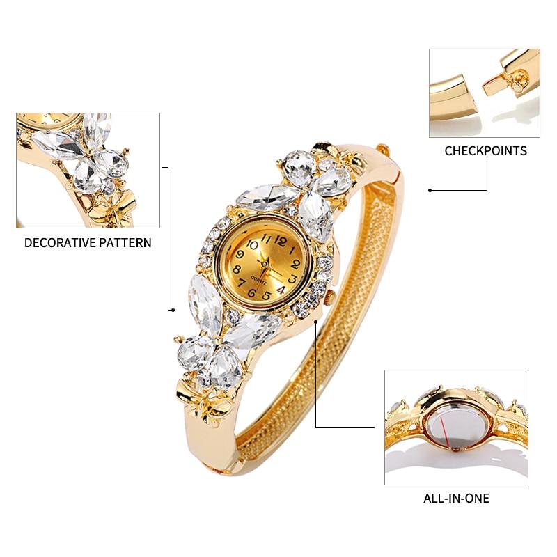 JUNYU Moda Altın Saatler Bilezik İzle Kadınlar Kelebek Taş Klasik - Kadın Saatler - Fotoğraf 3