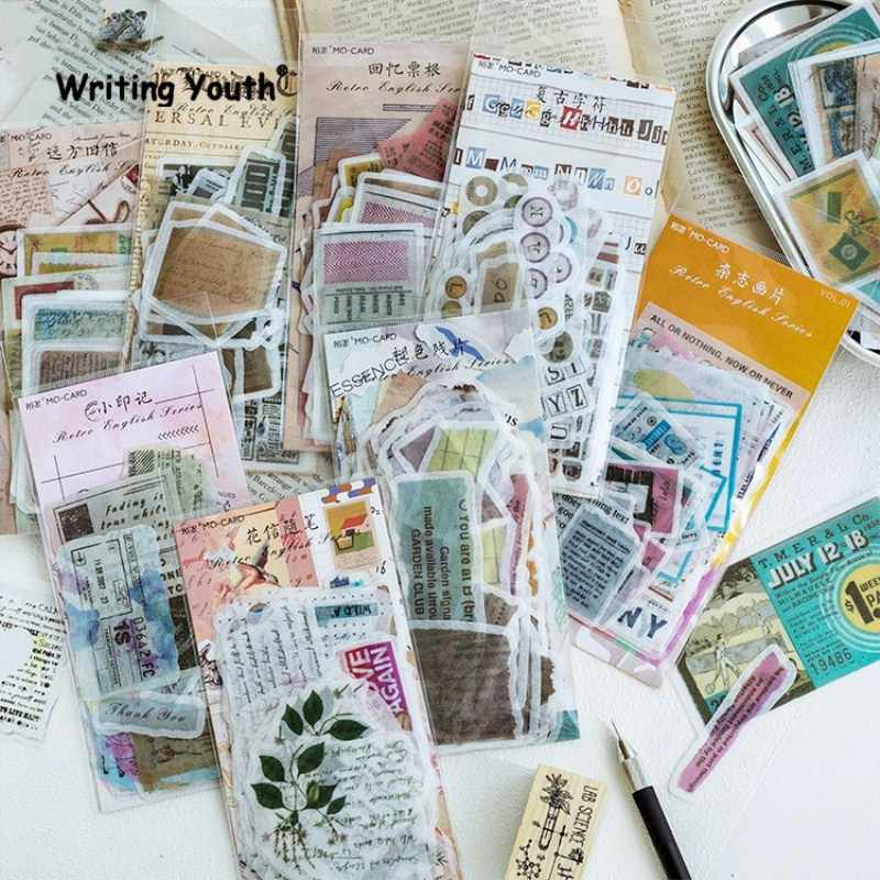 60pcs/set Cute Vintage Stamp Bullet Journal Stickers Scrapbooking Child Diary Stickers Supplies Stationary