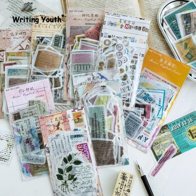 60 unids/set lindo Vintage sello bala diario pegatinas Scrapbooking niño diario pegatinas suministros estacionarios