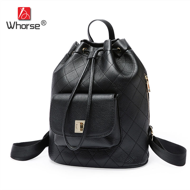 Fashion Casual Plaid String Style Bucket Bag Cowhide Womens Backpack Genuine Leather Daypack Backpacks Back Pack For Women W0992