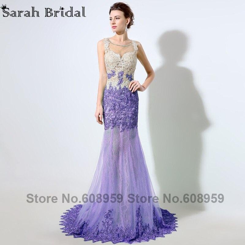 Menthe Dubai caftan sirène robes de soirée Sexy Illusion pure cristal perlé dentelle Appliques robe de bal réel échantillon LSX003 - 5