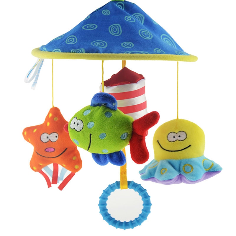 Soft Plush Toy Baby Stroller Bed Hanging Grasp Toys Crib Bed Rattles Bell Toy Cute Stuffed Sound Kids Comfort Doll K5BO