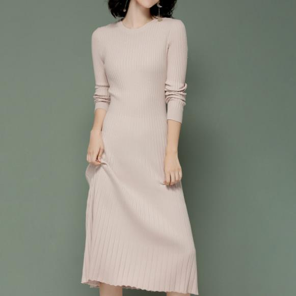 2018 Spring New Slim Long Sleeve Sweater Dress o-neck knee-length Long Knit Dress a-line