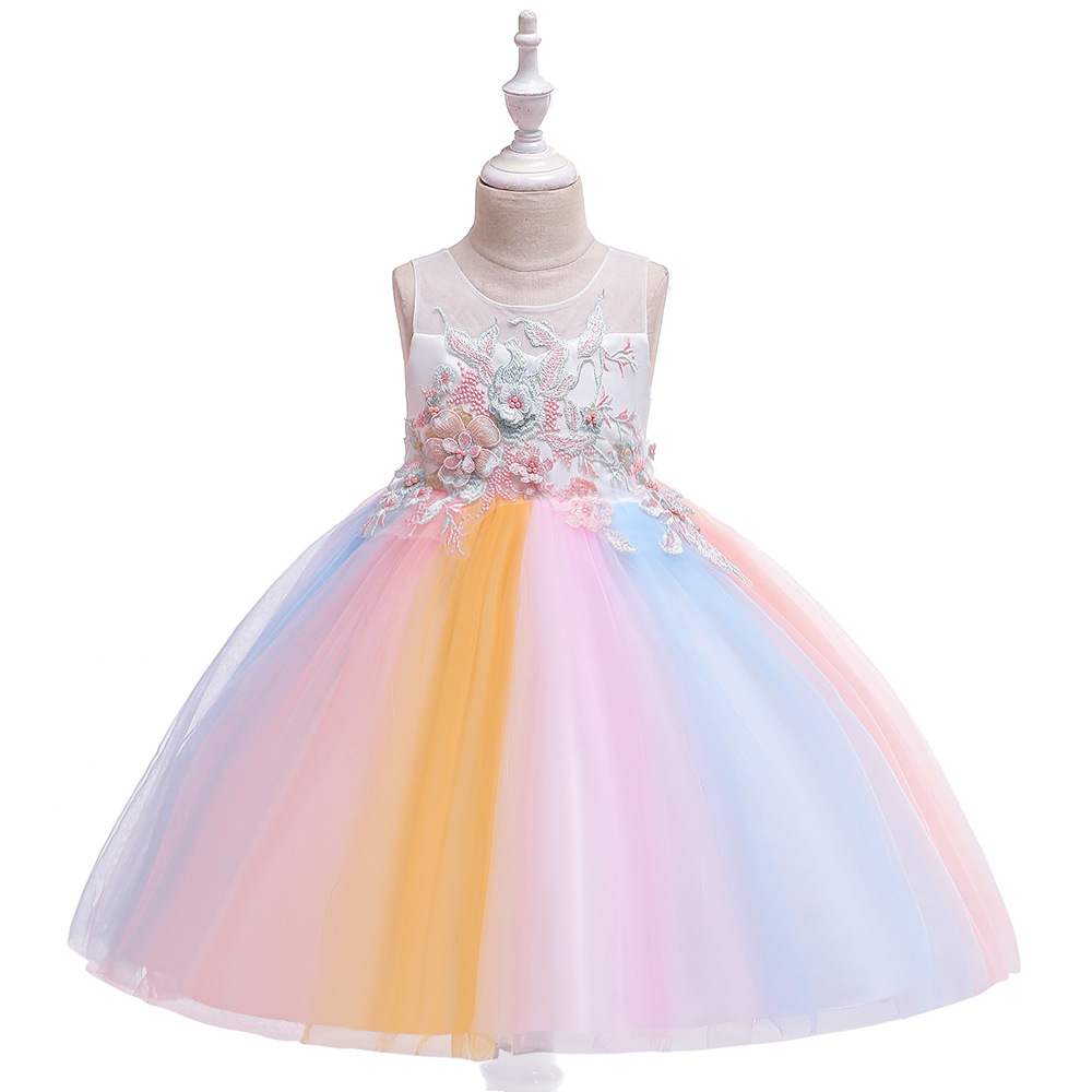 Lovely A-line Sleeveless Rainbow Tutu   Dresses   Kid Princess Little   Girls     Dress   Pageant Party   Girls   Gowns 2019 Years 3-10