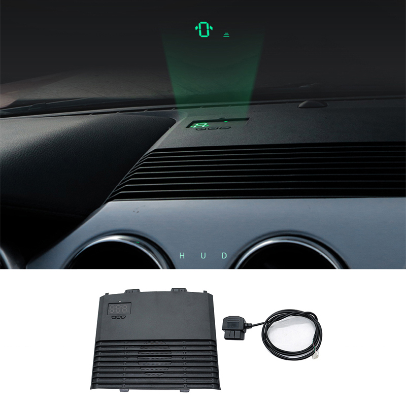 QHCP Car HUD Safe Drive Display Refkecting Windshield Head Up Display Screen Projector Sticker Fit For Ford Mustang 2015-2018