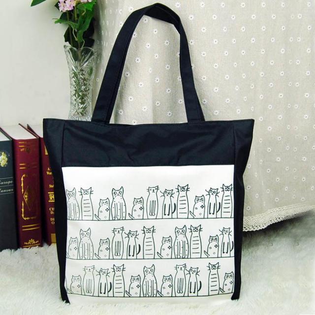 Gatos impreso gato compras bolsa de asas de la lona bolsas de mujer ...