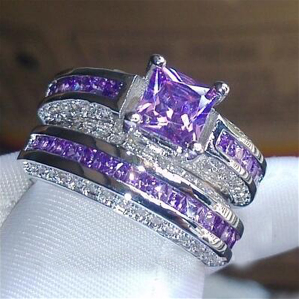 Princess Luxury 925 Sterling Silver purple crystal CZ Gemstones