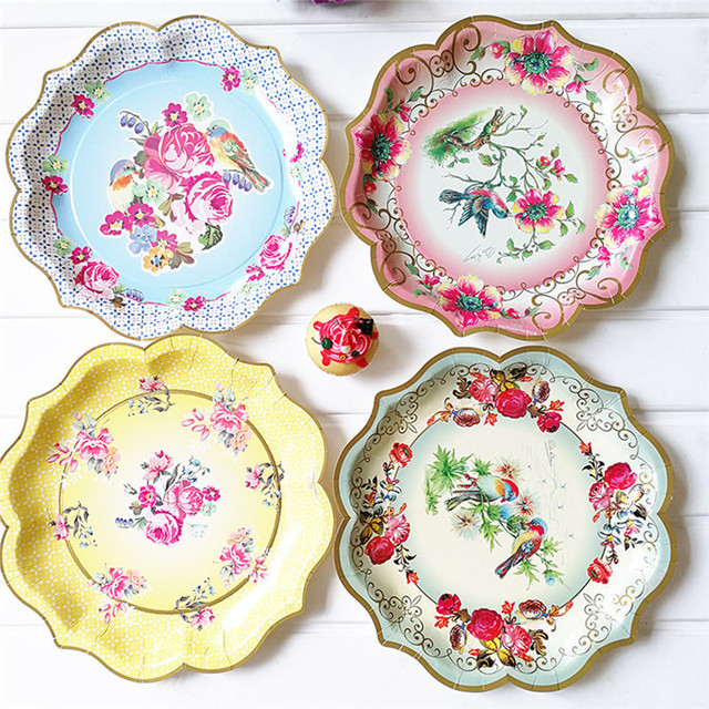 6pcs 30cm Lovely Disposable Paper Plates Dishes Pastel Flower Printing Party Paper Plates for Birthday Wedding  sc 1 st  AliExpress.com & 6pcs 30cm Lovely Disposable Paper Plates Dishes Pastel Flower ...