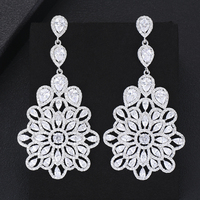 Shiny Charm Luxury silver 925 original Classic Pendant Earrings Fashion Bridal Wedding Cubic Zirconia Anniversary Accessories