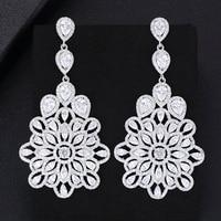 Shiny Charm Luxury silver 925 original Classic Pendant Earrings Fashion Bridal Wedding Cubic Zirconia Anniversary Accessories
