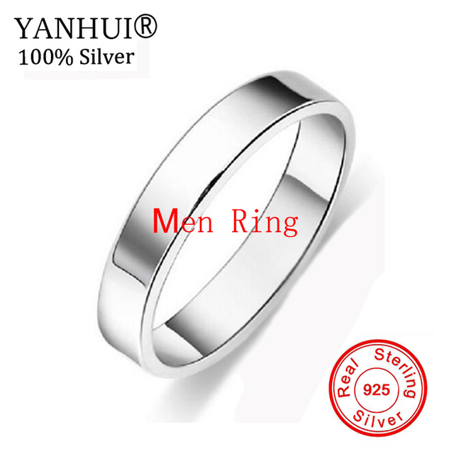 YANHUI Original Pure 925 Silver Wedding Rings For Lovers Fashion Dress Accessories Couple Gift Jewelry Engagement Ring Set JA008