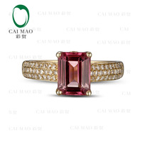 CaiMao 1.78ct Natural Pink Tourmaline & 0.42ct Diamond 18k Yellow Gold gemstone engagement ring Fine Jewelry