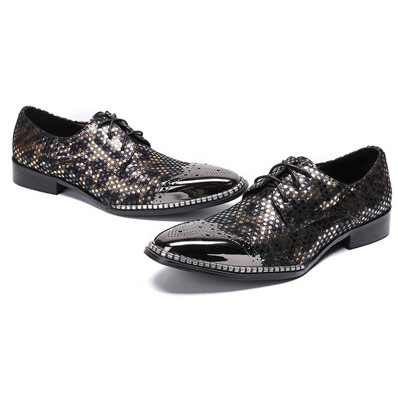 Preto Lace Derby Size Do Plus De Festa Sapatos Sl328 Rodada Banquete Homem Up Casamento Genuínas Toe Brogue Calçados Homens Dos Vintage Desenhador Couro BXt4dqxw4