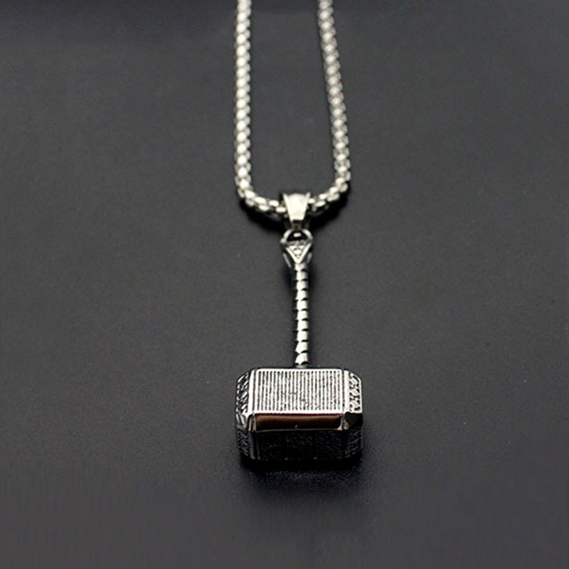 Mens Solid Viking Thors Hammer Pendant Necklace Stainless Steel Vintage Mjolnir Norse Jewelry Party Rock Christmas Gift