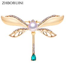 ZHBORUINI 2019 Natural Pearl Brooch Retro Dragonfly Breastpin Freshwater Jewelry For Women Birthday Gift Accessories