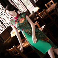 Chinese Style Dress Female Qipao Summer Short Sleeve Cheongsam Green Red Elegant Vintage Chinese Traditional Dress