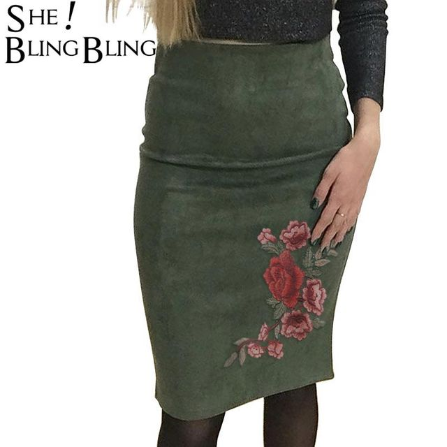 82ee79c42 SheBlingBling Women Empire Thicken Strechy Wear to Work Pencil Skirt Spring Faux  Suede High Waist Packet