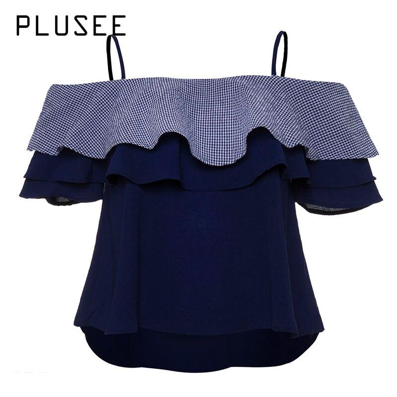 Plusee Shirt Plus Size 4XL 5XL Women Dark Blue Straight Slash Neck Butterfly Sleeve Falbala Backless Patchwork Blouses Shirts