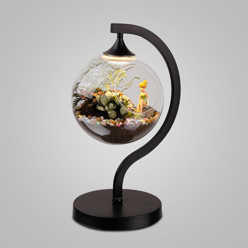 ecological desk lamp office balcony bar originality ornamental DIY plant glass desk lamp купить