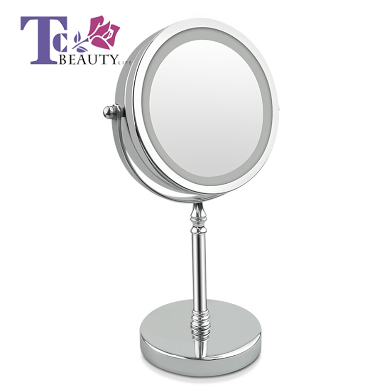 8 Inch Desktop Makeup Mirror 10X Magnifying With LED Light Circular Double Sided Metal Compact 360 Degree Rotating Round Shape цены