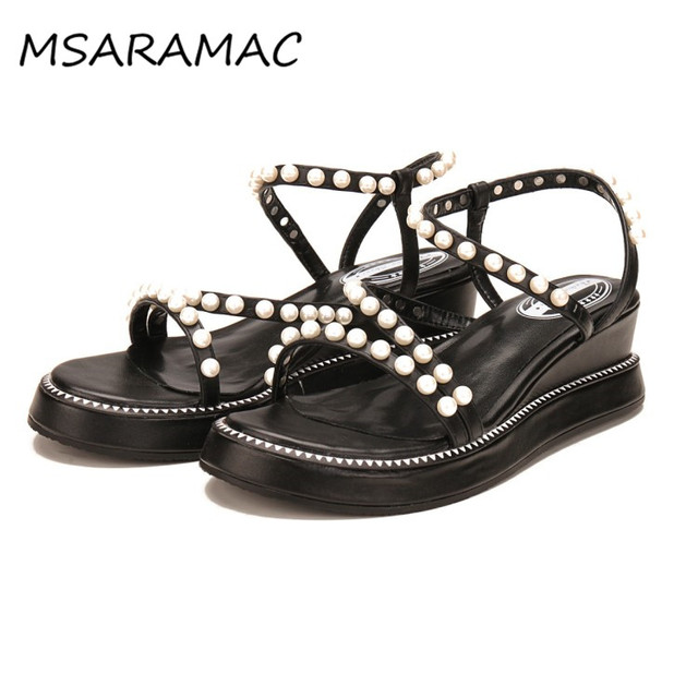 f493d127a55e46 Pearl Embellished Strappy Sandals Summer Fashion Platform Wedge Sandals  Shoes Women