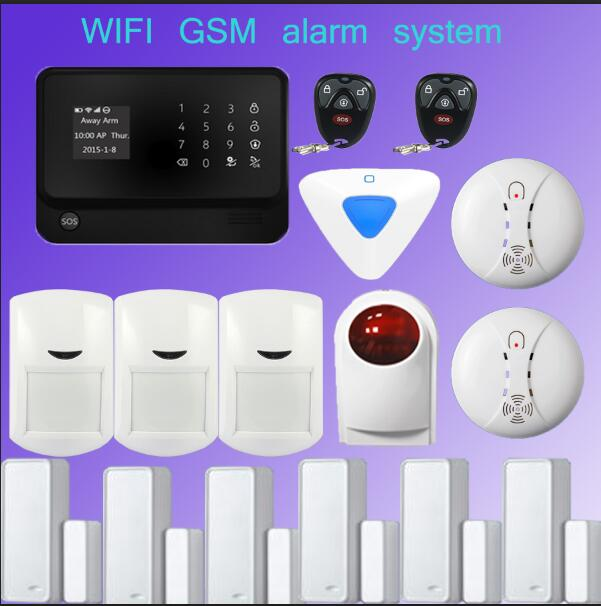 wifi alarm GSM GPRS Home  Security Alarm System Android& iOS APP Control with Wireless outdoor/ indoor siren+Smoke Detector wireless gsm pstn home alarm system android ios app control glass vibration sensor co detector 8218g