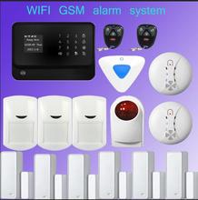 wifi alarm GSM GPRS Home  Security Alarm System Android& iOS APP Control with Wireless outdoor/ indoor siren+Smoke Detector