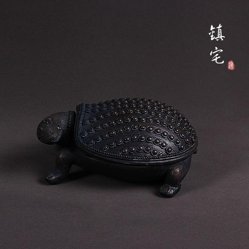 Noir créatif résine tortue statue boîte de rangement décor à la maison artisanat chambre décoration chanceux vintage tortue ornement art figurines