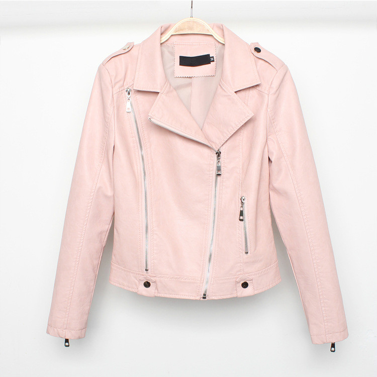 Girls Lapel Short Motorcycle Coats Pink Biker Jacket with Zipper Big Size 2xl Casual Faux   Leather   PU Jacket Moto Women Clothing