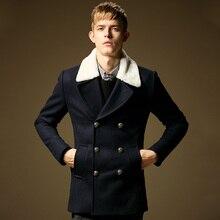 Pre-Sale 2014 Осень Зима Моды для мужчин одежда пальто шерсть куртка двойной брестед мужчины зимний верхней одежды пальто