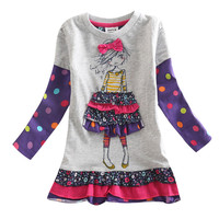 Baby Clothes Girl Cotton Embroidery Knee Length Dress Kids Clothes Girl Dress Floral Long Sleeves Casual
