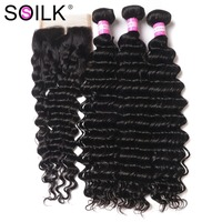 Brazilian Deep Wave Bundles With Closure Human Hair 3 Bundles With Closure Deep Curly Brazilian Hair Weave Bundles So Silk Hair