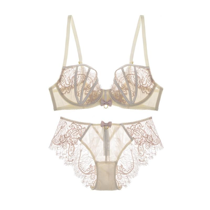 Ultrathin lingerie set plus size bras D-F Cup sexy lace bra set transparent women underwear black embroidery Bow